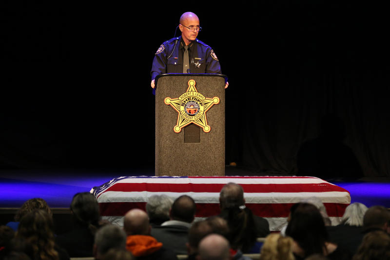Clermont County Sheriff Robert Leahy delivers remarks during funeral services for Clermont County Sheriff's Detective William Lee Brewer Jr., Friday, Feb. 8, 2019, at Mount Carmel Christian Church.