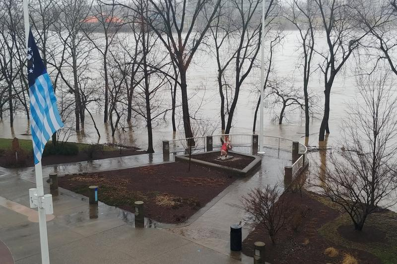 The Ohio River creeps into Sawyer Point Tuesday morning.