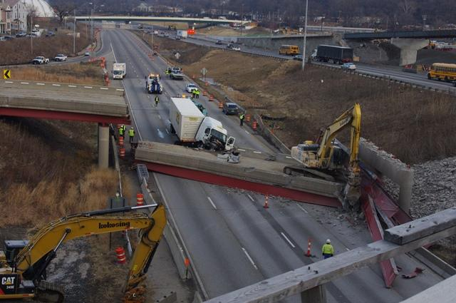 The semi was traveling southbound on 75 just as the overpass collapsed.