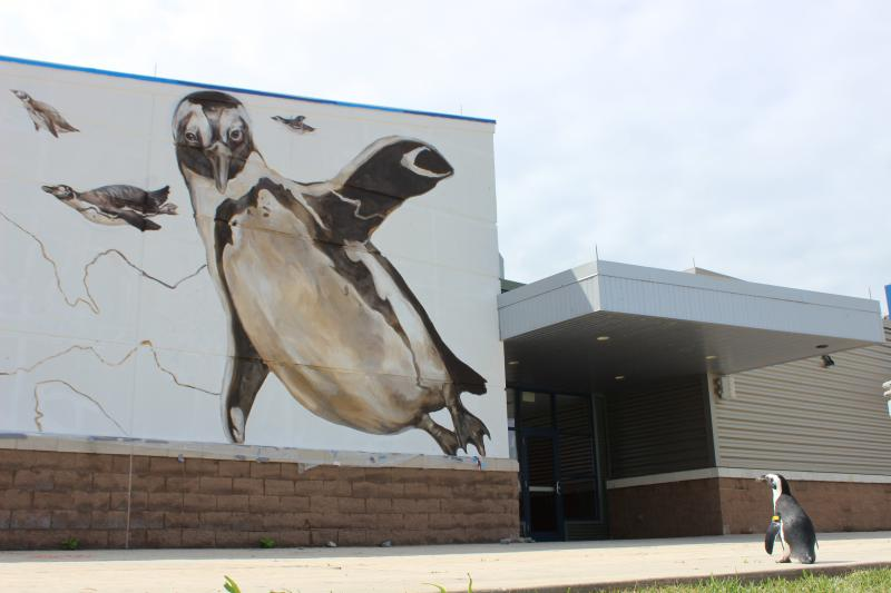 Paula standing before a 25-foot tall version of herself.