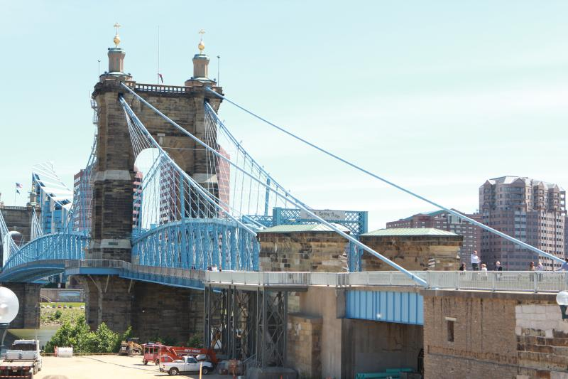 New walkway on the Roebling Bridge opened today.