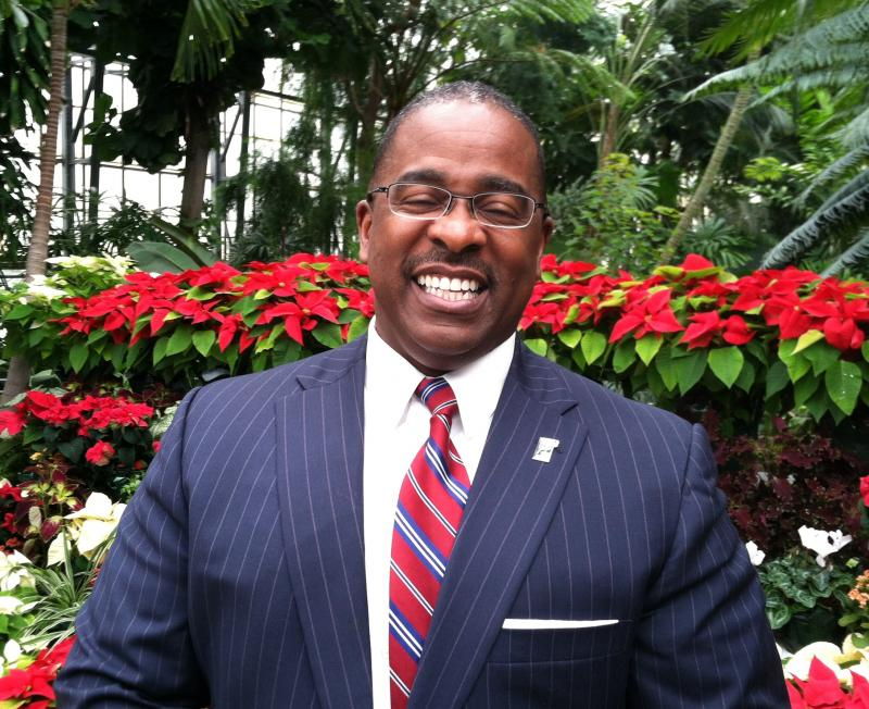 Cincinnati's new city manager Willie Carden at the Krohn Conservatory in Eden Park.