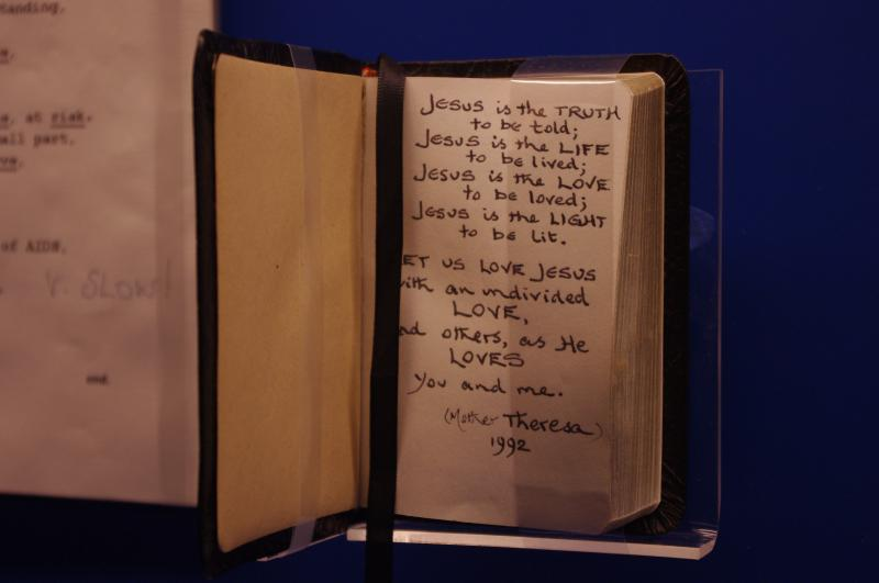 A small prayer book given to Princess Diana by Mother Theresa. Curator Nick Grossmark says this tiny book is one of his most favorite items in the exhibit.