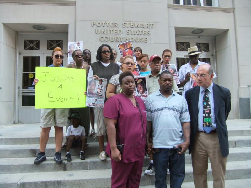 The family of Everette Howard Jr. with attorney Al Gerhardstein