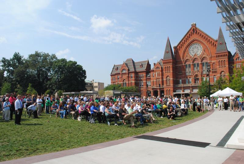 A crowd gathered for the name unveiling in Washington Park.