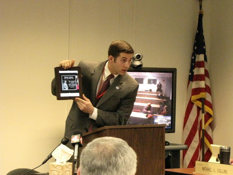 Ohio Democratic Party spokesman Jerid Kurtz displays Terhar's Facebook post.