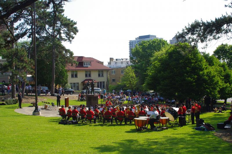 Th UC Bearcat Band plays a concert before the Memorial Day ceremony.