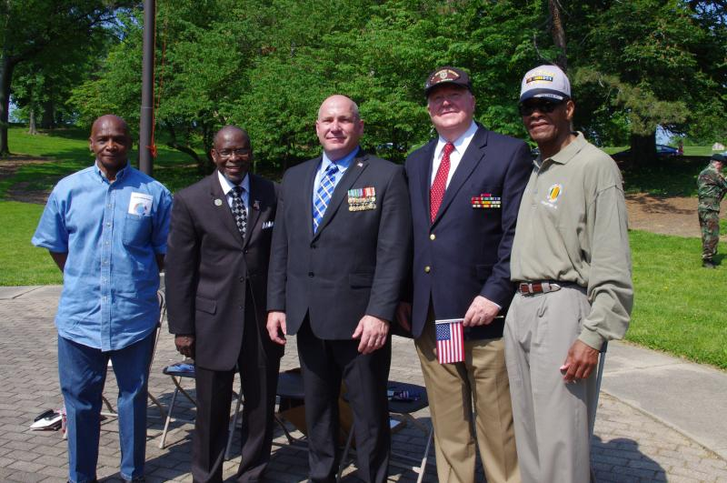(L-R) VVA Chapter 10 board member Walter Edwards, Pastor Donald E. Jones, guest speaker David Foster, VVA Chapter 10 board member Forrest Brandt, VVA Chapter 10 president Edward Brown