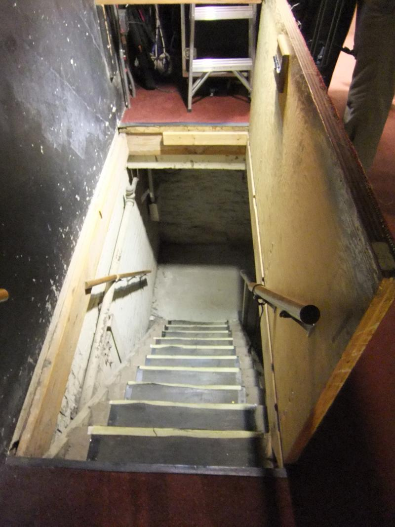 Orchestra members must navigate this stairwell with their instruments to access the orchestra pit.