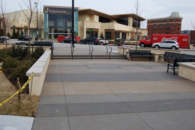 Plaza seating near the casino's main entrance.