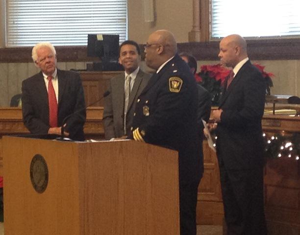 Left to right: Vice Mayor David Mann, Council member Christopher Smitherman, Police Chief Eliot Isaac, Mayor John Cranley (behind Isaac) and City Manager Harry Black.