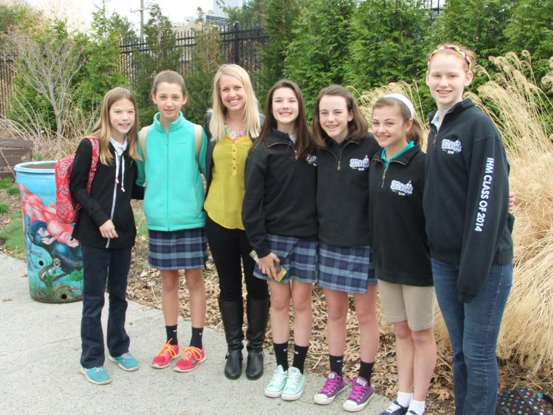 Sixth and eighth grade students from Anderson's Immaculate Heart of Mary school painted several rain barrels on display at the Cincinnati Zoo.