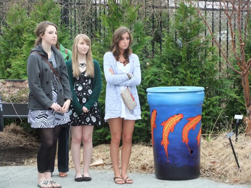 Students from Colerain High School decorated rain barrels now on display at the Cincinnati Zoo.
