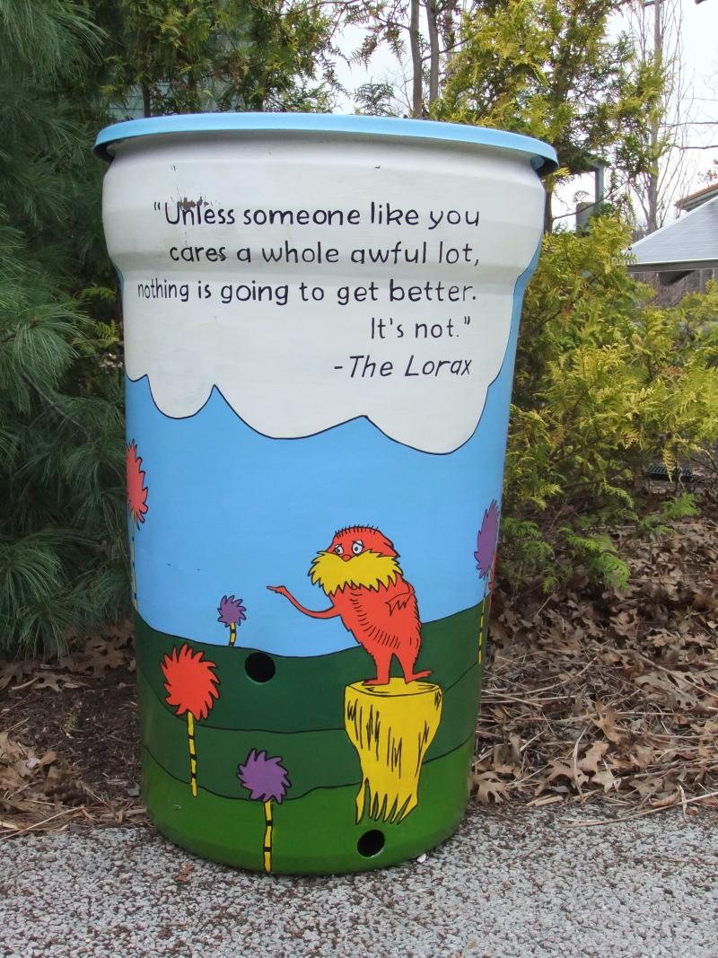Dr. Seuss inspired rain barrel.