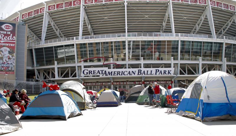 Campers are out waiting in line for Opening Day Reds tickets that go on sale tomorrow.