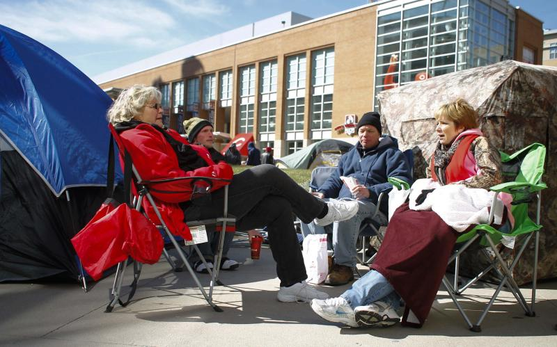 Sherry Stone from Fairmount is first in line for Opening Day Reds tickets along with Joe Beirre, Aaron Wright, and Cassie Leibfath.