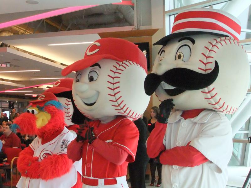The Reds mascots gather for the big announcement.