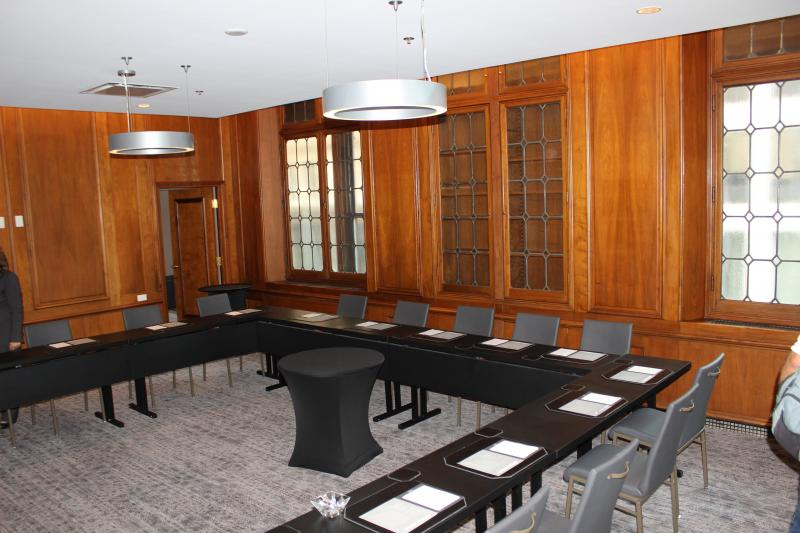 Wooden walls from the building's banking days remain in one of the meeting rooms.