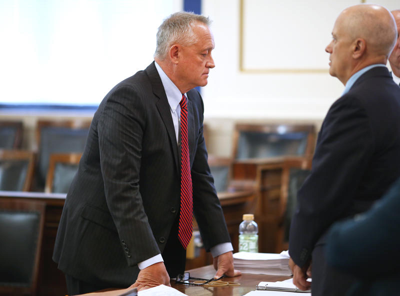 Prosecutor Joe Deters, left, during jury selection for the first trial.