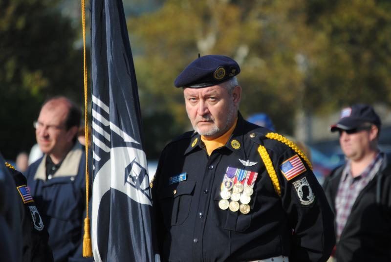 Color guards from each branch of the military posted the colors during an opening ceremony welcoming the wall.