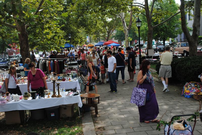 Nearly 100 vendors line Covington's MainStrasse Village.