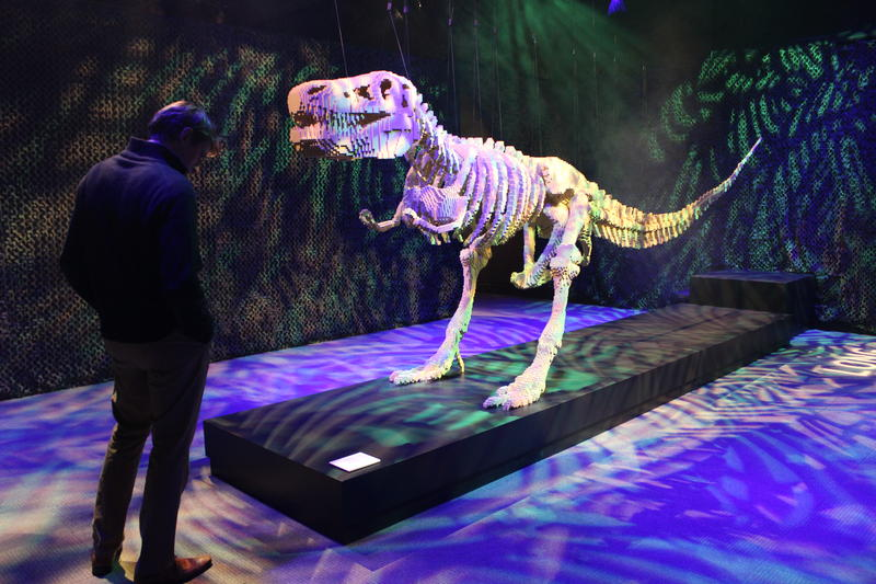The Art of the Brick includes this 20-foot T-Rex skeleton.