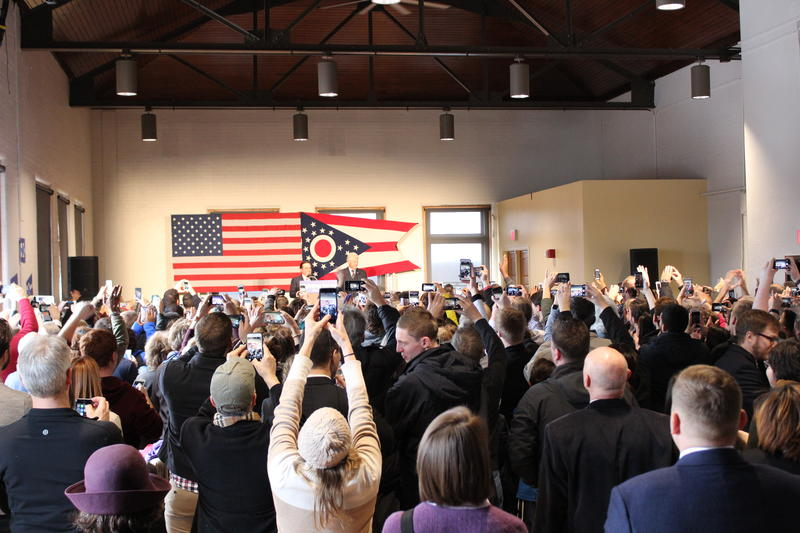 About 200 supporters gathered cheer during a stop on former President Bill Clinton's Get out the Vote campagin stop in Clifton. Another 200 were in an overflow space.