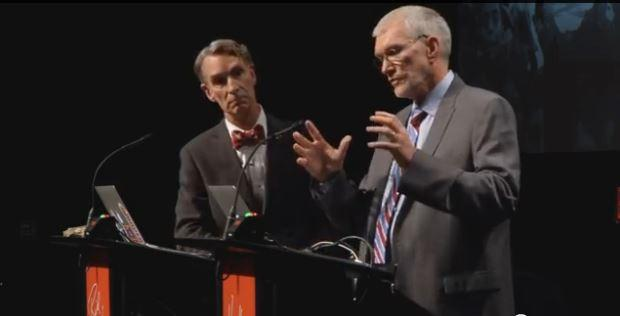 """Nye (left) and Ham (right) debate the question, """"Is creation a viable model of origins in today's modern scientific era?"""""""