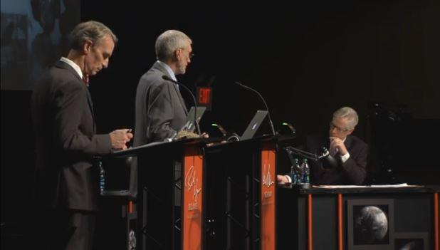 Tom Foreman (right) of CNN moderated the debate.