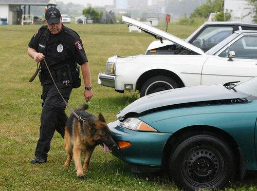 Ero and Officer Hibbard sniffs over cars.
