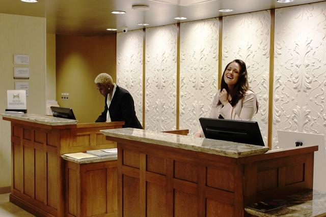 After guests enter through a joint lobby, they turn left or right depending on which of the two hotels they've chosen.
