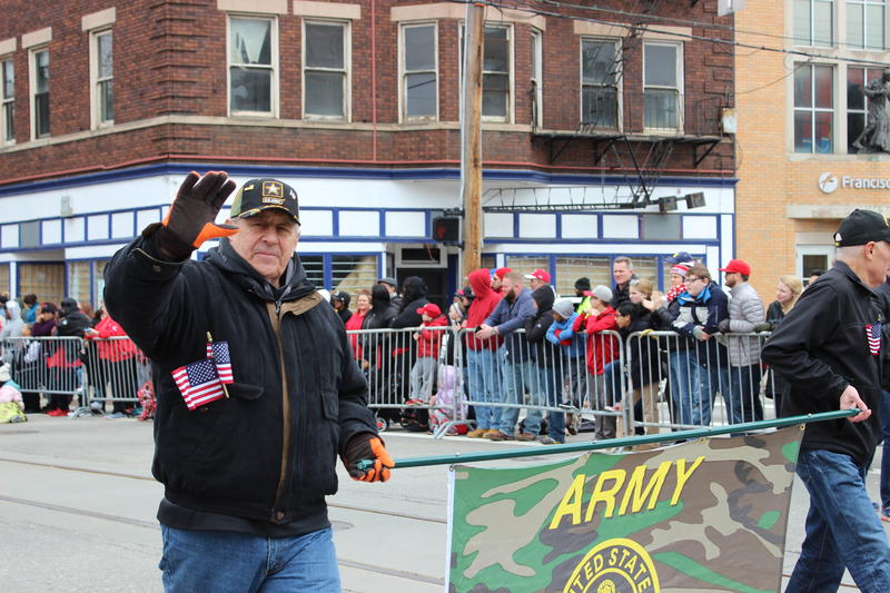 "The crowd yelled ""Thank you for your service!"" as this group of Purple Heart Veterans walked the parade route."