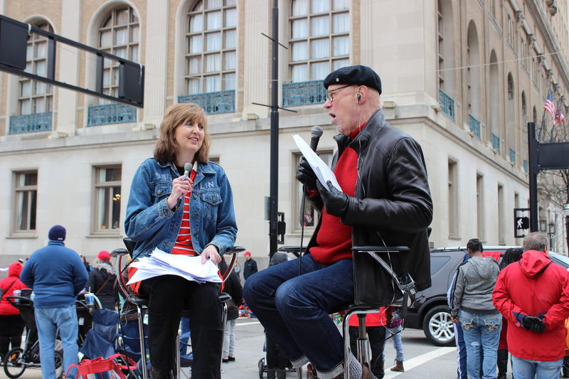 Hey! We know her! That's WVXU's Ann Thompson co-hosting the CitiCable parade show with Jerry Galvin.