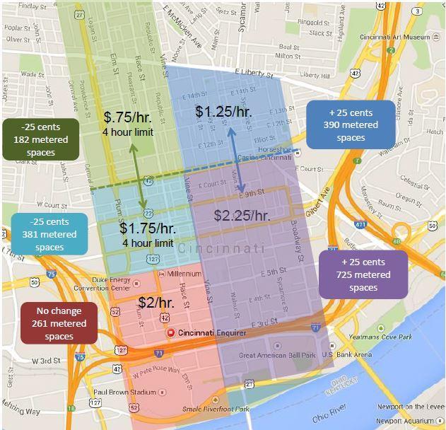 on downtown cincinnati map