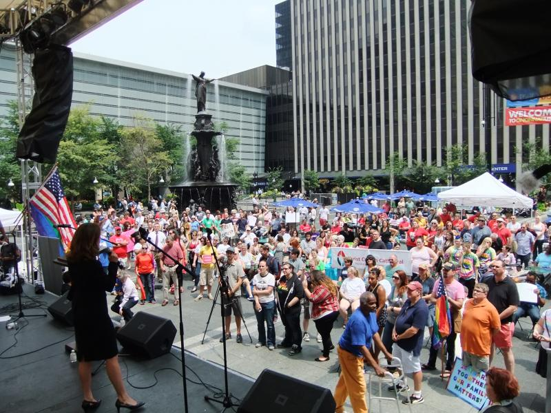 Supporters of same-sex marriage rights rally on Fountain Square Wednesday afternoon.