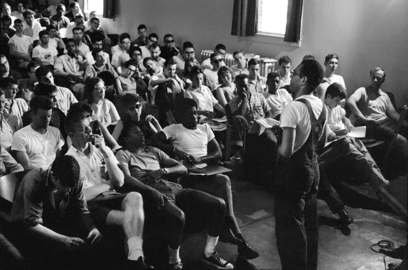 Freedom Summer organizer Bob Moses talks to volunteers at an orientation in Peabody Hall, Western College for Women, now part of Miami's Western campus.