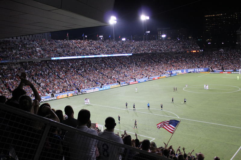 The U.S. Women's National Soccer Team celebrates a goal in front of more than 30,000 fans in Cincinnati Tuesday night.