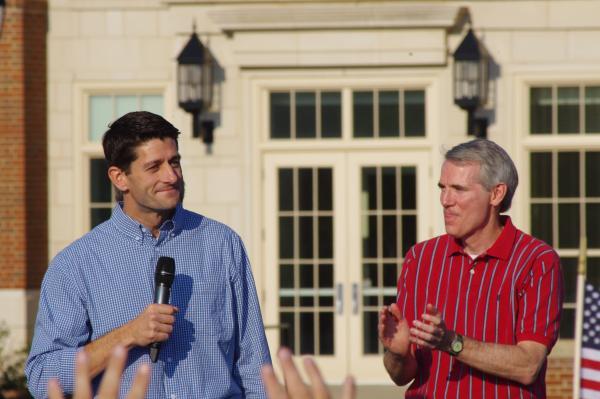Rep. Paul Ryan speaking at his alma mater Miami University with Sen. Rob Portman.