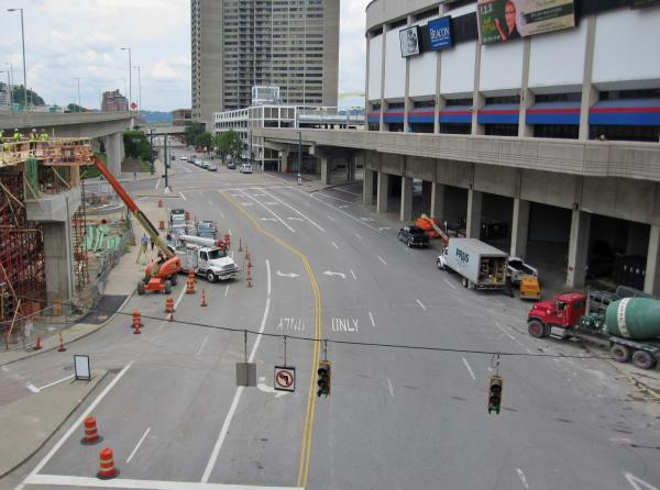 Pete Rose Way is closed while a new pedestrian bridge is being installed.