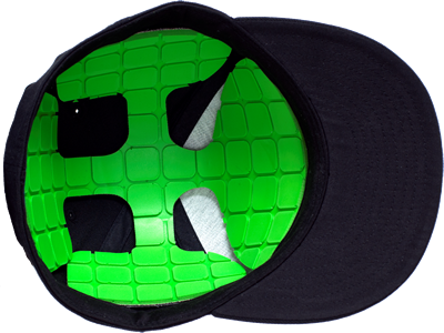 """Unequal Technologies has a hat, """"Halo"""" that it claims helps to protect pitchers from head injuries."""