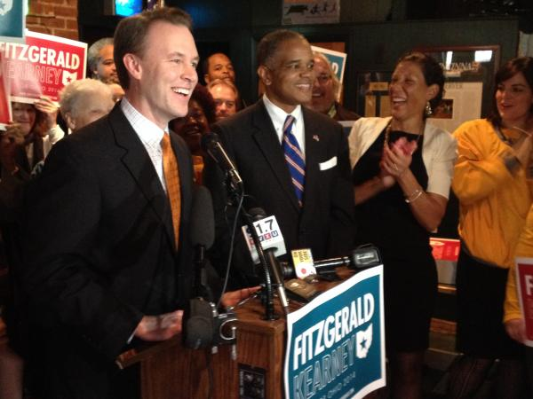 Democratic running mates Ed FitzGerald and Eric Kearney at Crowley's in Mt. Adams prepare to hit the campaign trail.