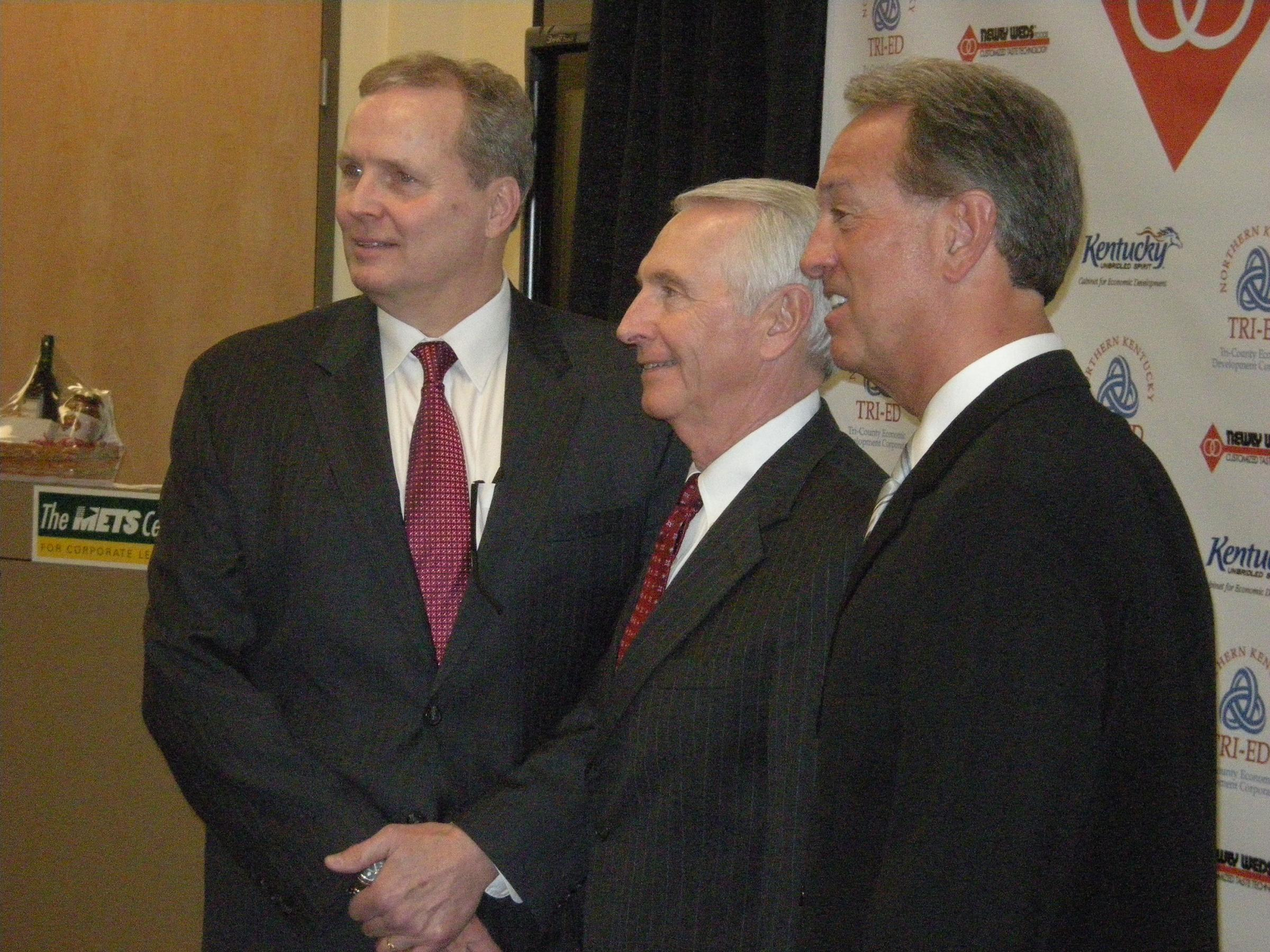From Left Mike Hopp VP Of Manufacturing Gov Steve Beshear Boone Co Judge Executive Gary Moore