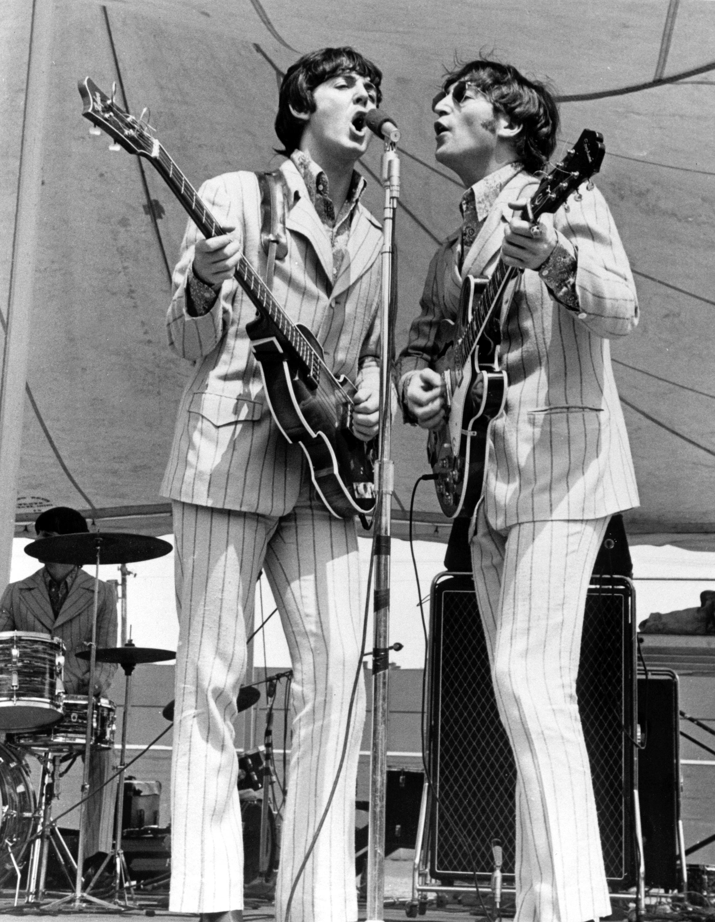 Paul McCartney And John Lennon On Stage At Crosley Field