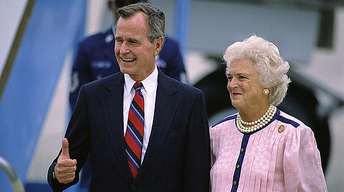 Then-Vice President George Bush and Barbara arrive in New Orleans for the 1988 Republican National Convention.  Credit Esther  Flickr