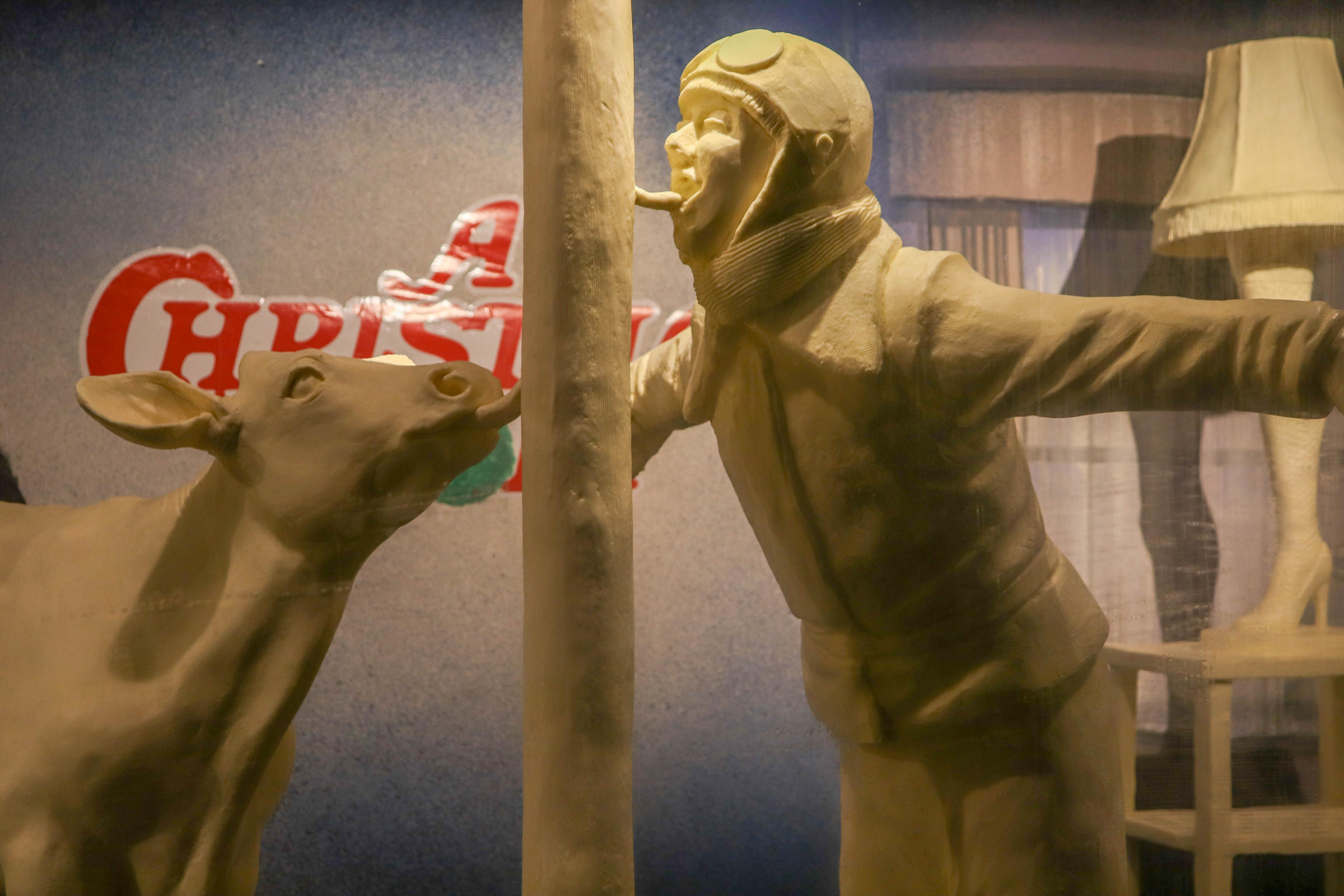 a calf sculpted from butter left joins flick from a christmas story also made from butter at the ohio state fair - When Was Christmas Story Made