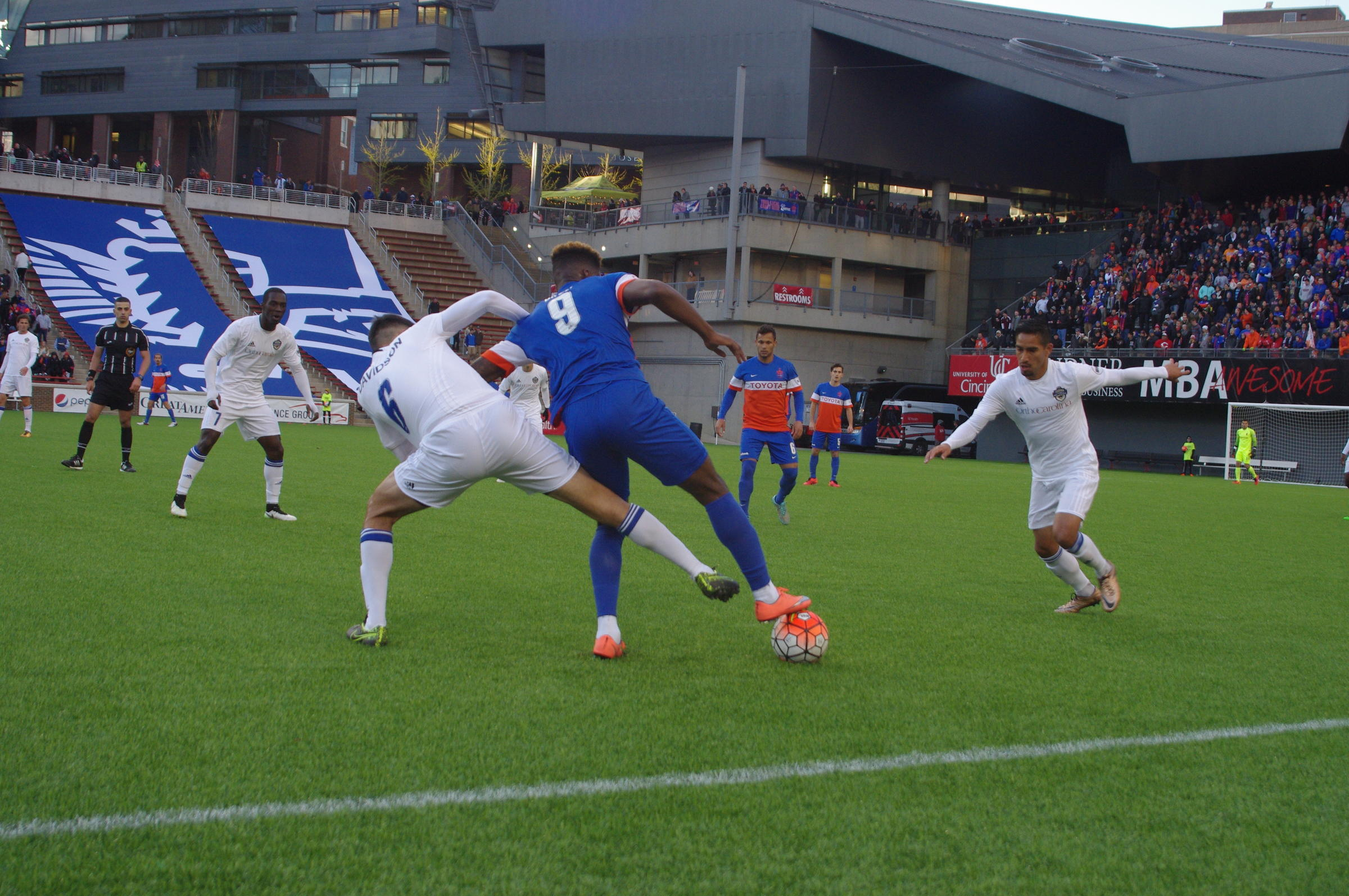 FC Cincinnati wins first ever home game 2-1 over Charlotte Independence.