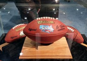 Game balls from Super Bowl XXXVI.