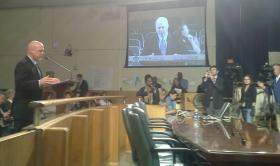 Mayor Landrieu addresses the City Council at an emergency meeting he requested.