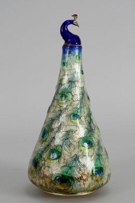 Peacock vase, circa 1900.