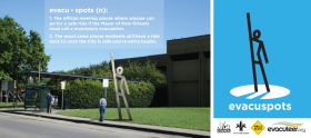 Evacuation locations will be marked by 14-foot-tall sculptures.
